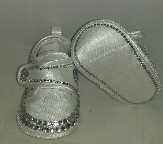 9240eadcc5b54a White Satin customised Baby Girl Embroidered shoes by HuggyWuggys ...