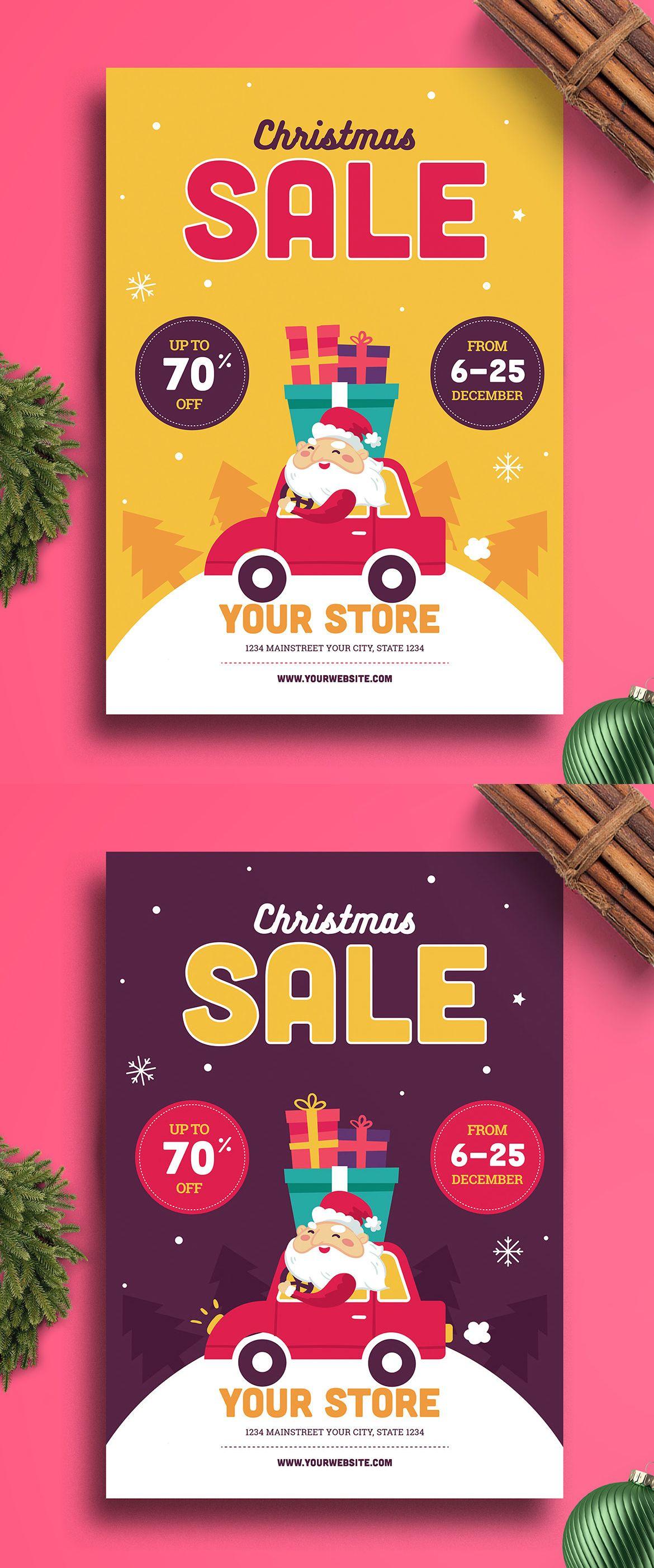 christmas sale flyer template ai psd xmas ads promotion flyer