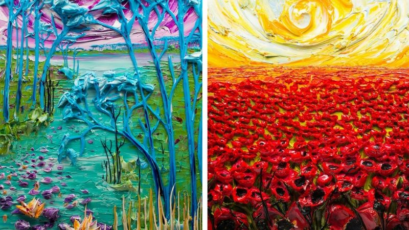 Justin Gaffrey was a Chef and restaurateur until he started his textured paintings. but his paintings aren't your ordinary paintings. He uses paint to creat