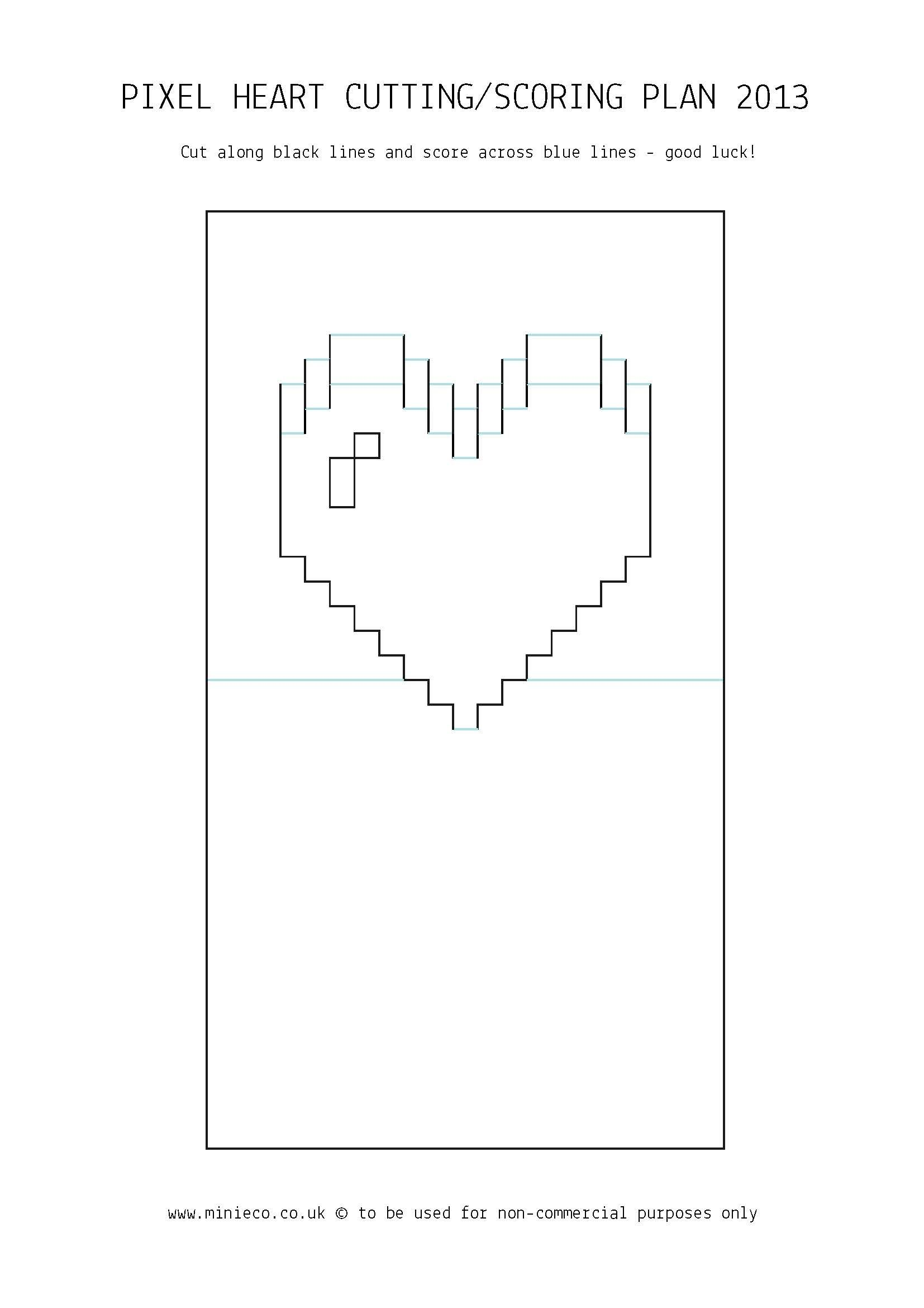 Pixel heart pop up card 07 crafts pinterest for Pop up storybook template