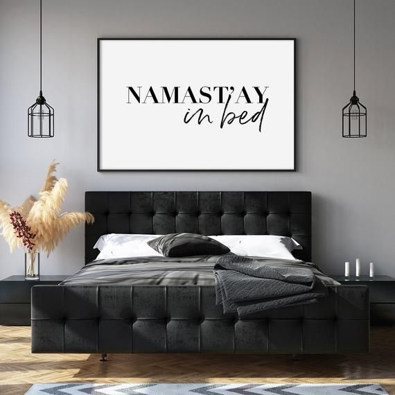 Namastay In Bed Printable Bedroom Wall Decor Namaste In Bed Etsy In 2021 Master Bedroom Wall Decor Wall Decor Bedroom Above Bed Decor