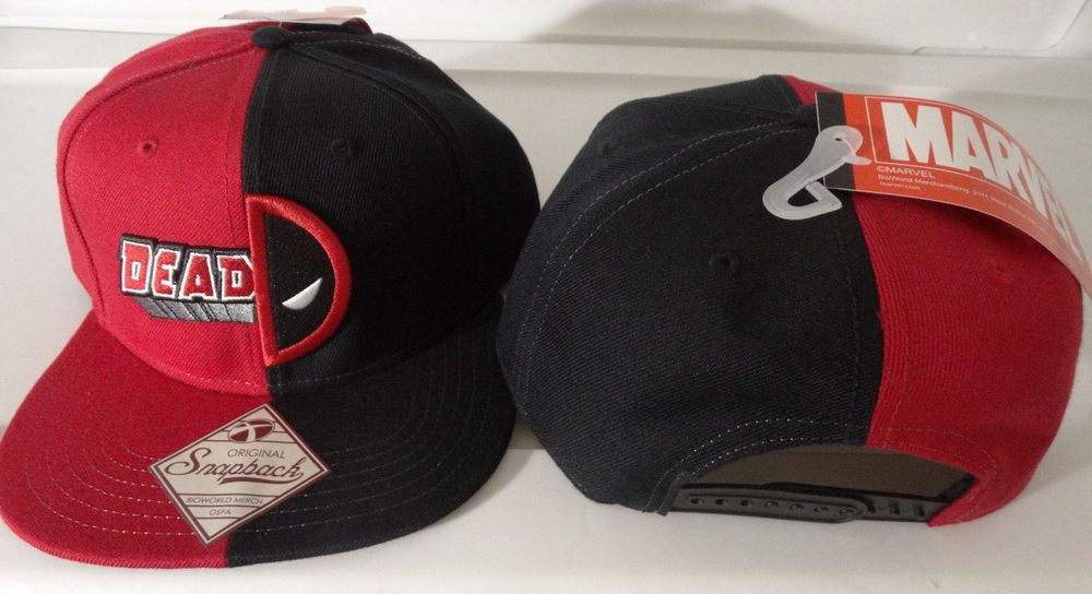 13fbd0fb2ad Deadpool Split Logo Marvel Comics Snap Back Black Hat Nwt  Marvel   BaseballCap