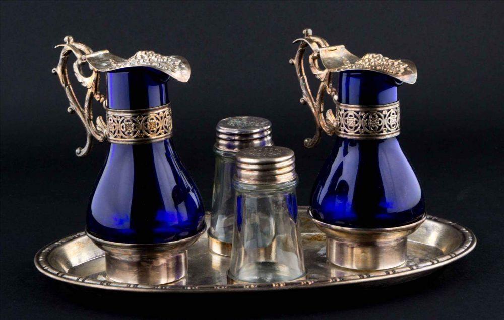 menage um 1900 versilbert kobalt blau azul blue royalblue cobaltblue marineblau. Black Bedroom Furniture Sets. Home Design Ideas