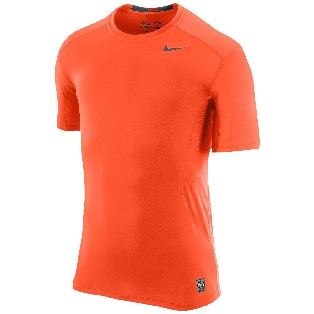 Nike Pro Combat Dri Fit Men's Large L Compression Shirt Short Sleeve NWT  Orange #Nike