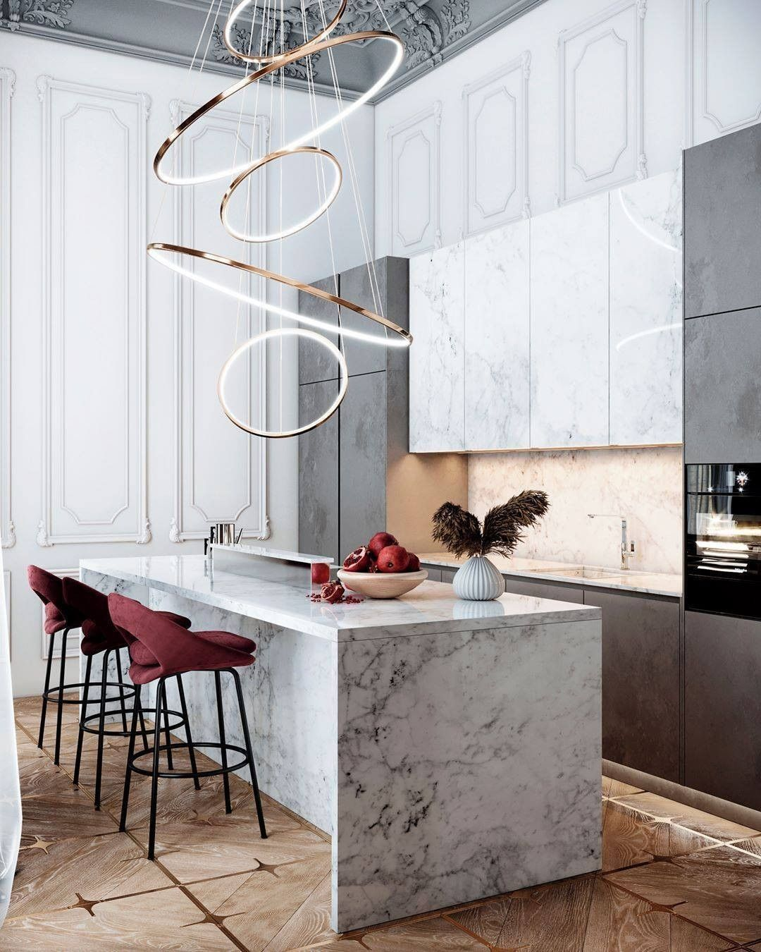 Surrounded by white colors and classic stylistics, this style looks more than appropriate and noble. What do you like most about this kitchen?  #kitchen #marble #interiordesign #grwdevelopments #ModernDesign #worldofinteriors #moderninteriors #interiormilk #sidetablestyling #kitchendesign #bestinterior #classyinterior #cabinetry #marblekitchen #kitchendesigns #kitchencountertops #quartzite #kitchenrenovation #kitchendesignideas #marblehome #marbledesign #marbleinterior #beautifulmarble #newkitch