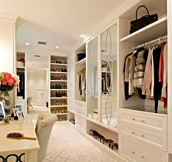 Walk In Closet With Mirrors And Make Up Dressing Table Closets