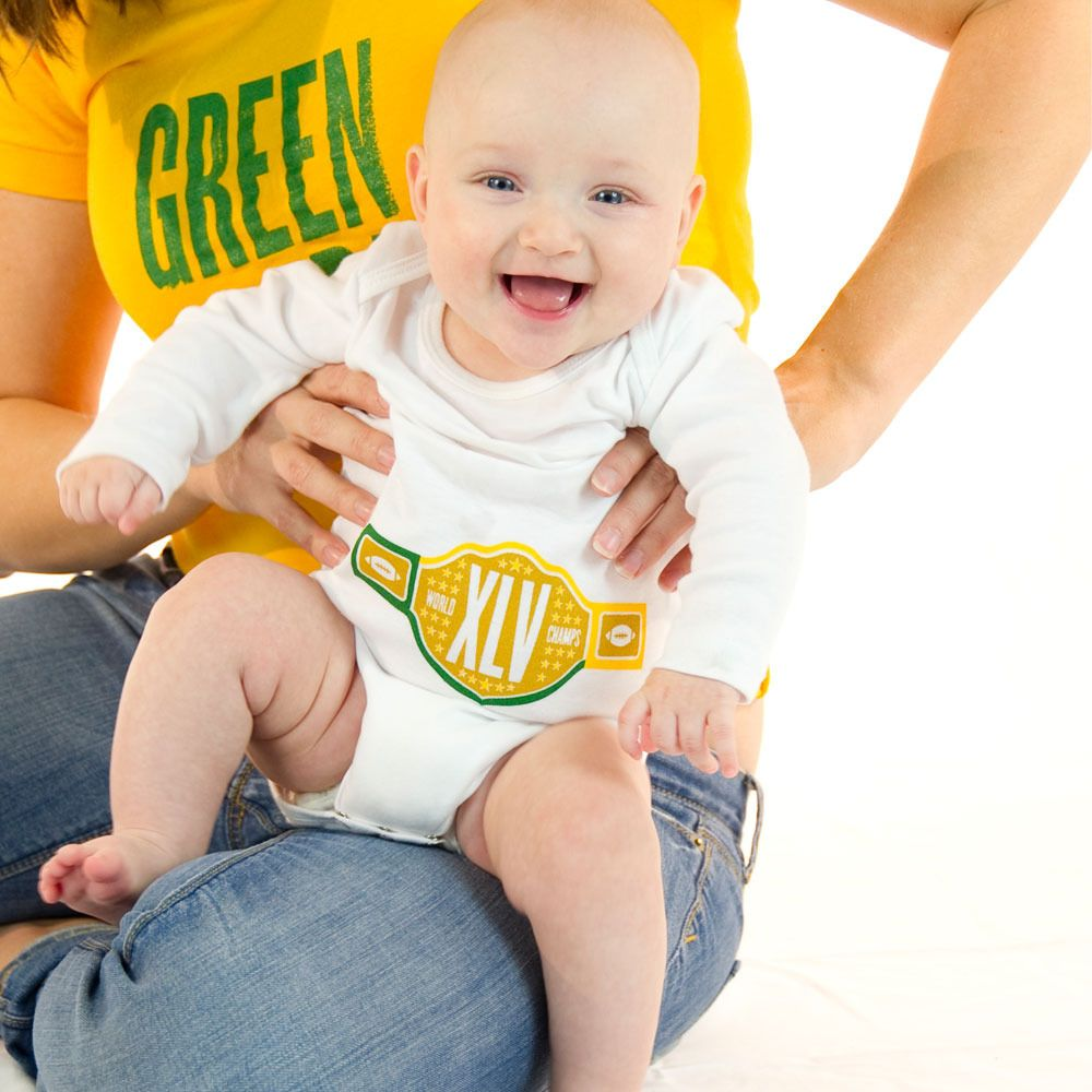 Could This Get Any Cuter Green Bay Aaron Rodgers Titlebelt Onesie Or Discount Double Check Onesie Onesies Green Bay Packers Baby Onesies
