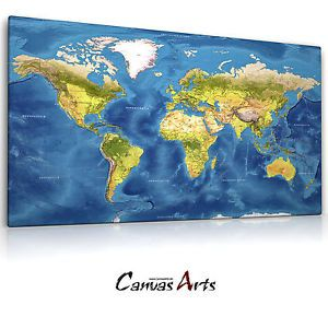Details Zu Weltkarte Relief Blau, Leinwand Bild Auf Keilrahmen, Wandbild  Poster 14.2201