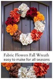 Stoff Blumen Herbst Kranz Super Easy Tutorial für jede Jahreszeit