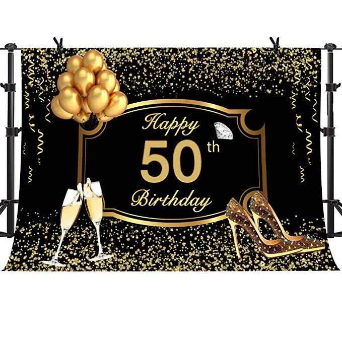 Amazon Com Mme 10x7ft Happy 50th Birthday Backdrop Fantasy Golden Balloon Ribbon Champagne Sweet Birthday Birthday Backdrop Happy 50th Birthday 50th Birthday