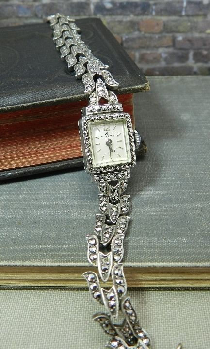 Bucherer Marcasite Deco 17 Jewel Watch   Antique ReVisions