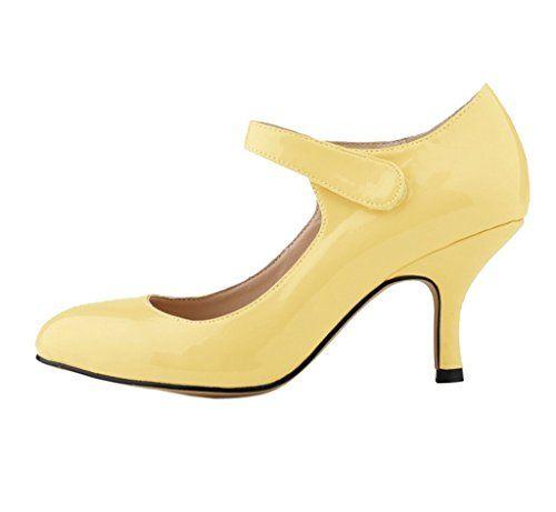 Katypeny Women's Vintage Velcro Slip On Pointed Toe High Heel Pump Shoes Dk Yellow Patent Leather 8 M US katypeny http://www.amazon.com/dp/B0180GZSRA/ref=cm_sw_r_pi_dp_gCDMwb02H85QF