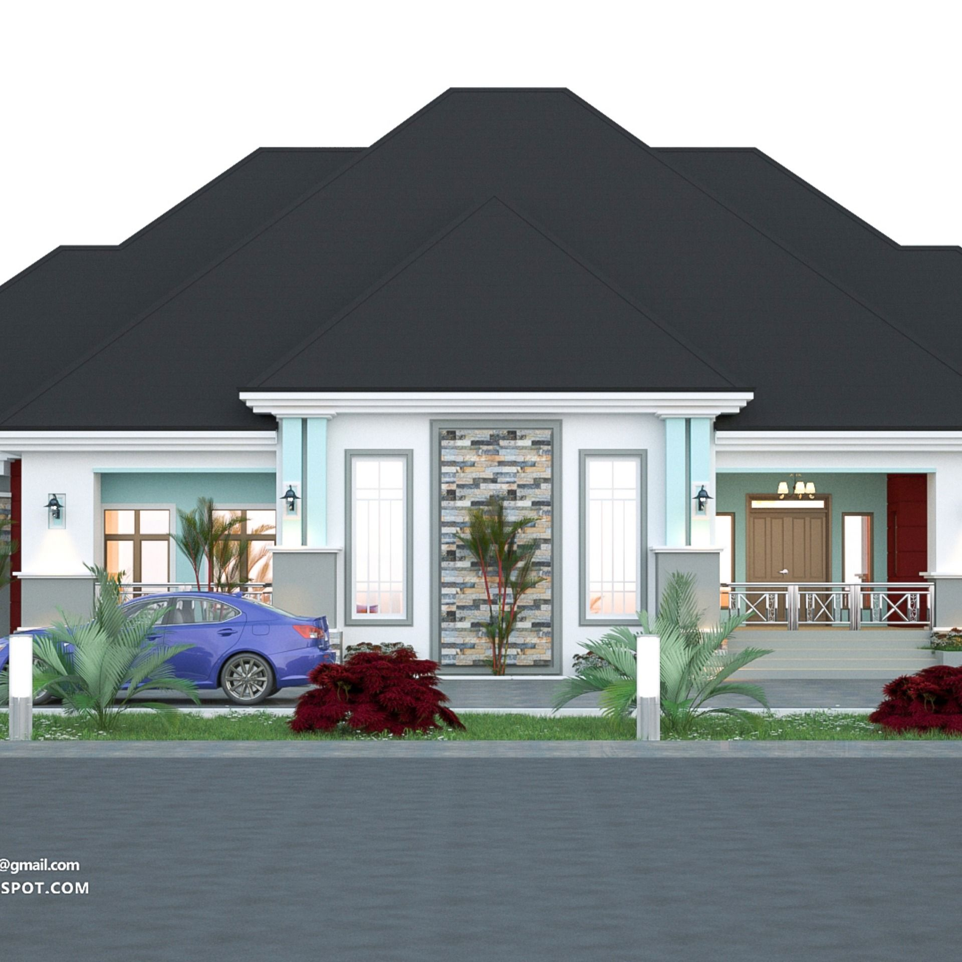 4 Bedroom Bungalow Rf 4015 Bungalow Design Duplex House Design House Styles