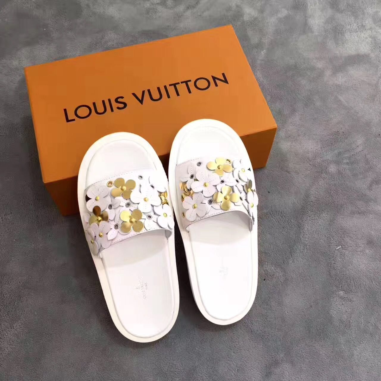 Louis Vuitton Lv Woman Shoes Flowers Slippers Slides Slippers