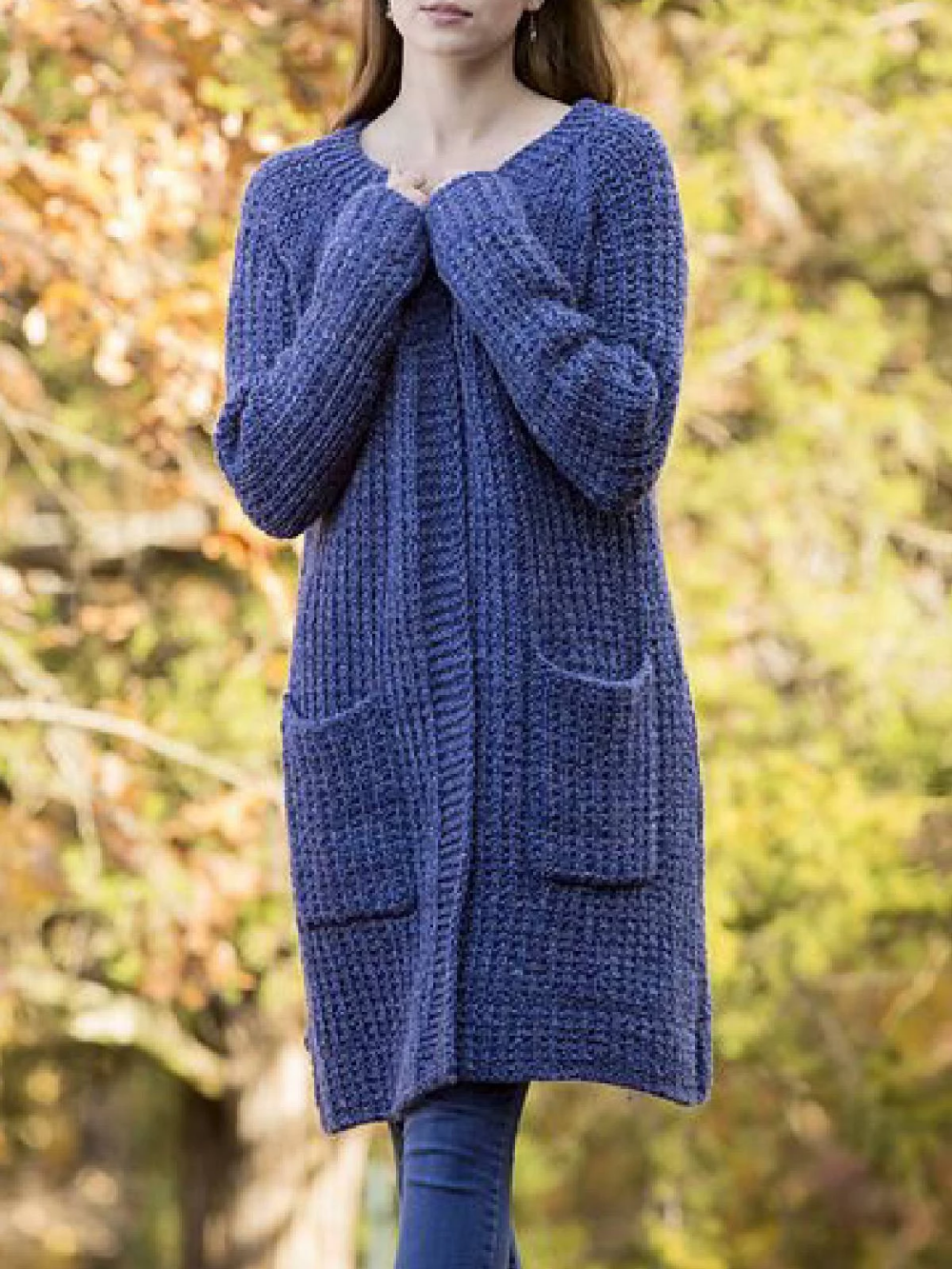 Photo of Blue Long Sleeve Plain Knitted Outerwear