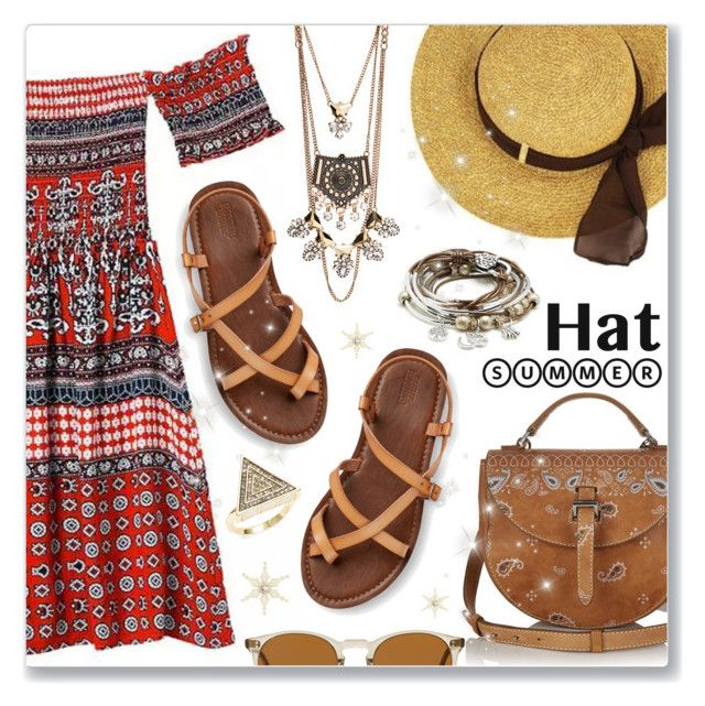 """""""Top It Off: Summer Hats"""" by dressedbyrose ❤ liked on Polyvore featuring Lizzy James, House of Harlow 1960, Oliver Peoples and summerhat"""
