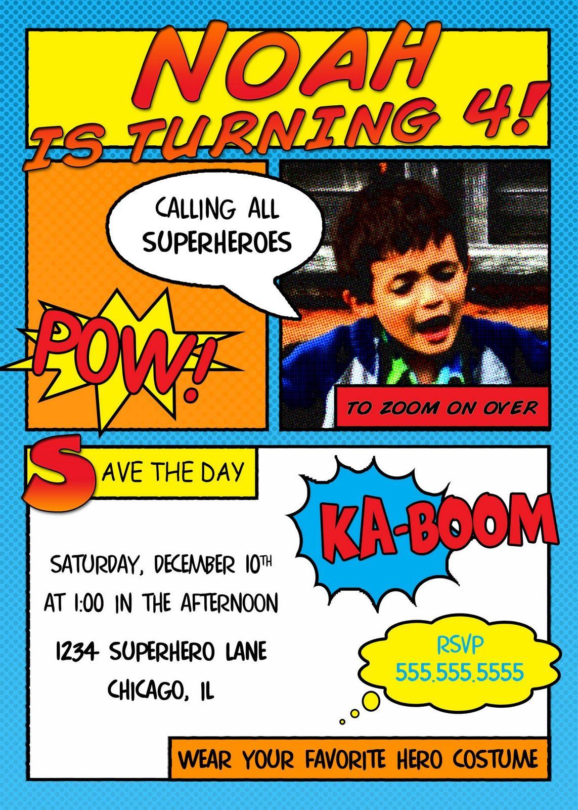 Download Free Superhero Invitation Templates | birthday invitation ...