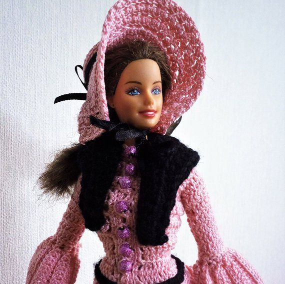 Pink crochet doll dress - Victorian doll dress/historical dolls/barbie clothes #historicaldollclothes