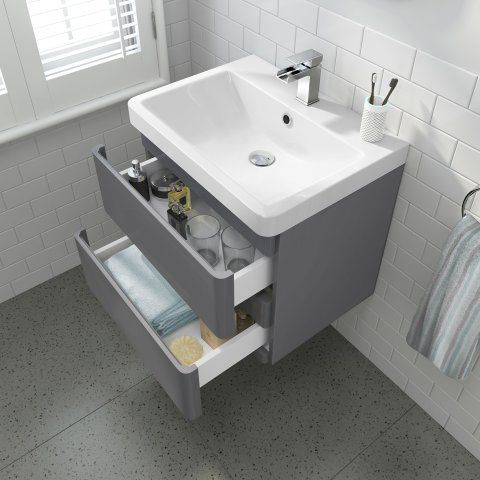 Short Projection Toilet 600mm Denver Ii Wall Hung Vanity Unit Gloss Grey Soak Com Wall Hung Vanity Bathroom Units Bathroom Furniture Storage