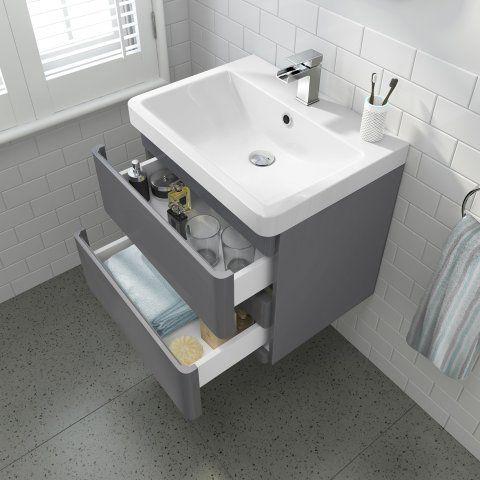 Vanity Unit Bathroom Grey short projection toilet & 600mm denver ii wall hung vanity unit