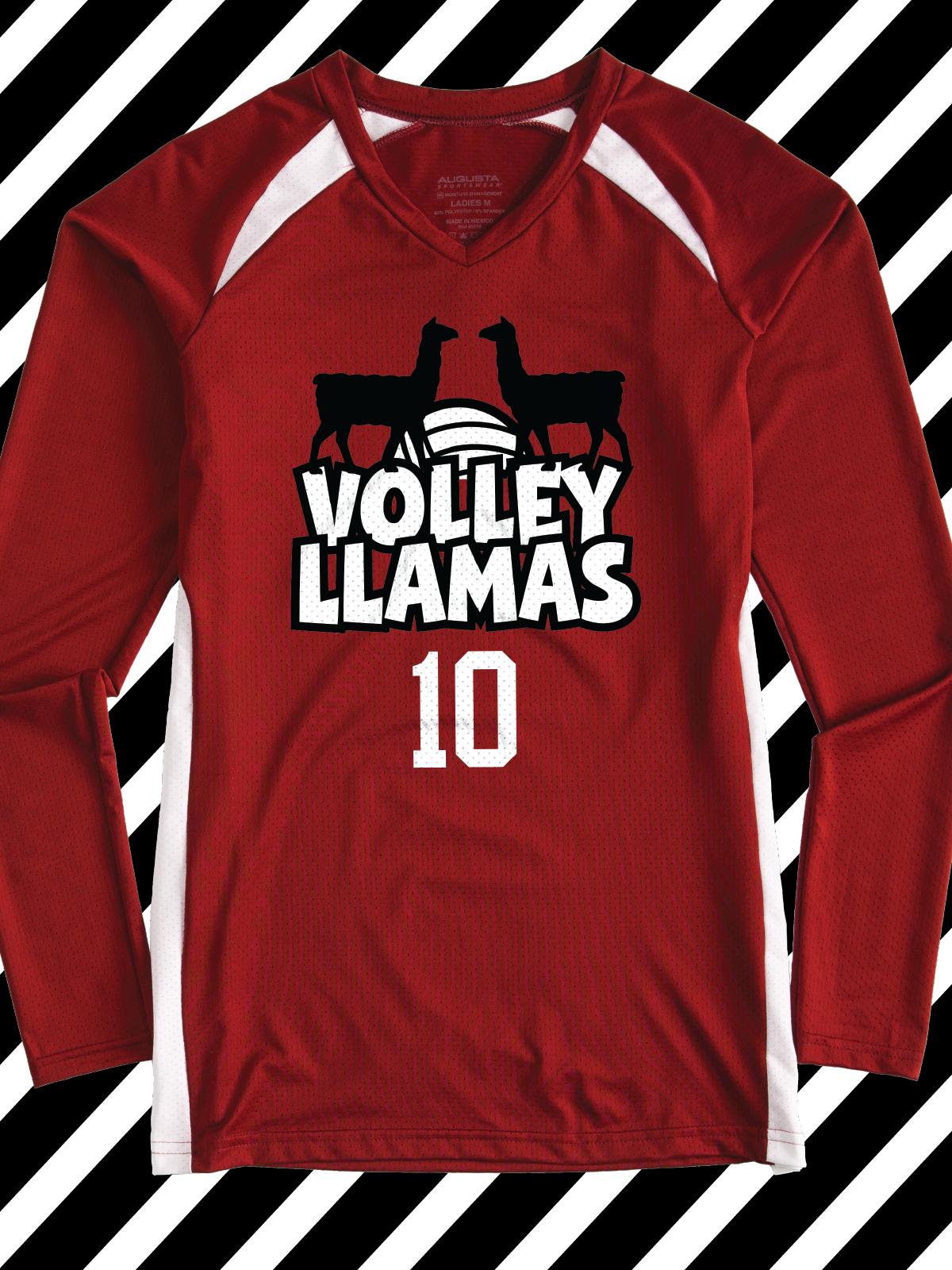 T shirt design volleyball - Volley Llamas Funny Design Idea For Custom Volleyball Jerseys Team Shirts League Shirts