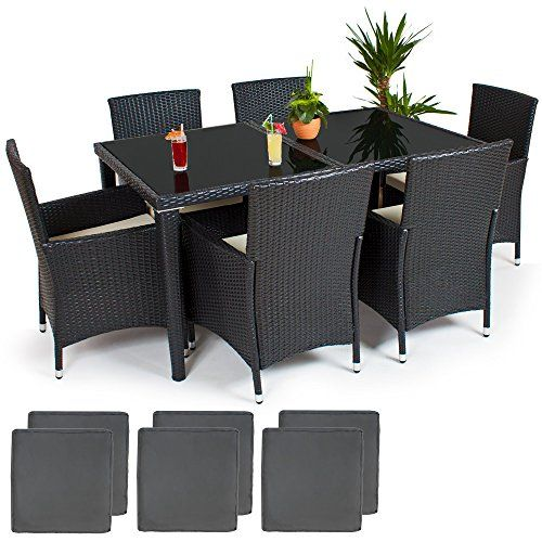 TecTake Aluminium Salon de jardin 6+1 TABLE DE JARDIN EN RESINE ...