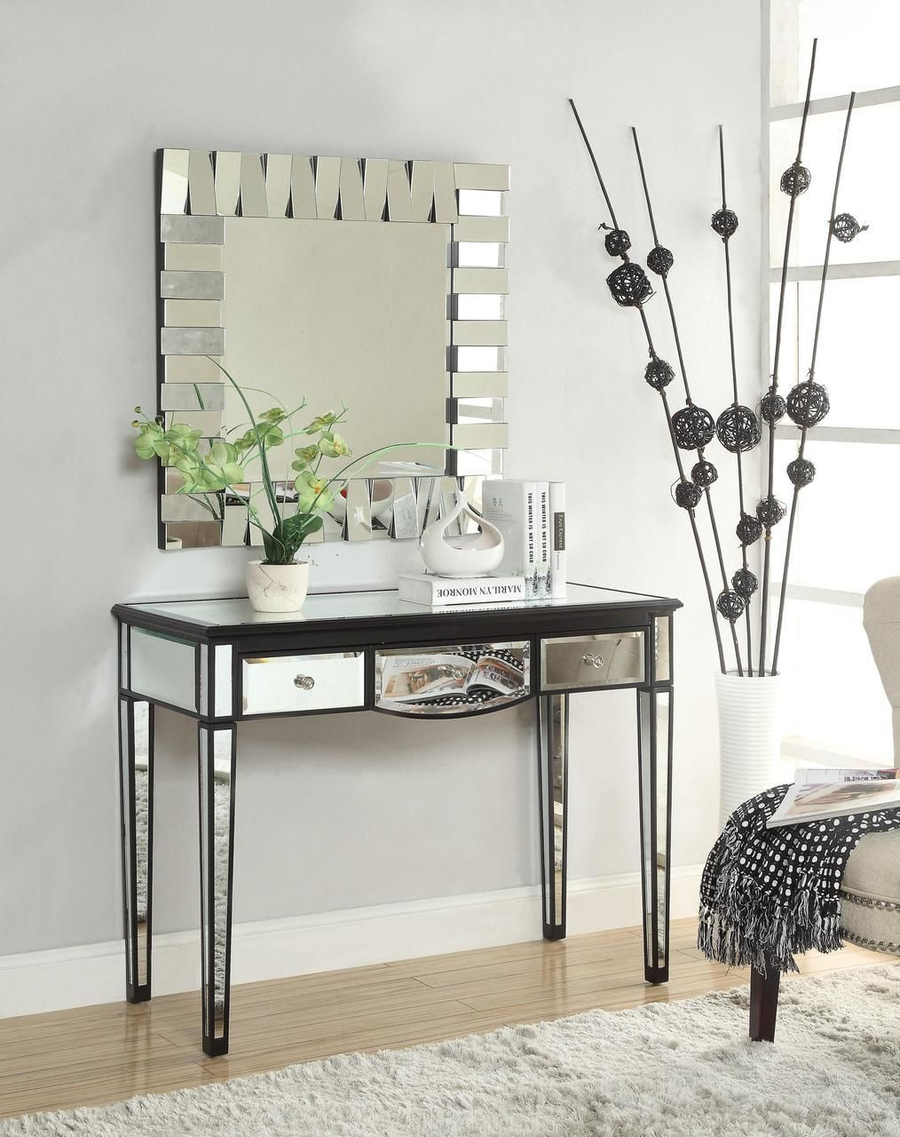 The Xandra Black Mirrored Makeup Vanity Desk with No
