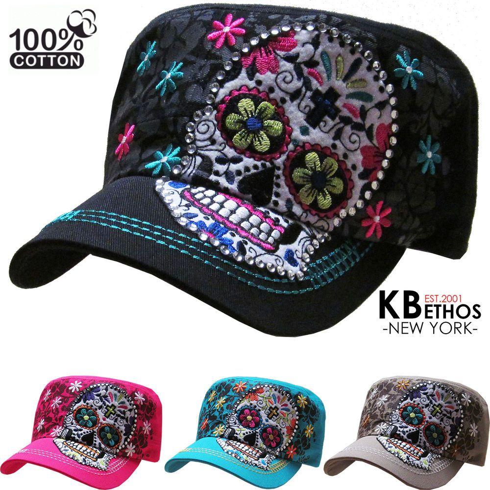 848c85318f6 NEW Rhinestone Sugar Skull Bling Womans Hat Cap Cadet Western Bling Vintage   KBETHOS  CadetMilitary