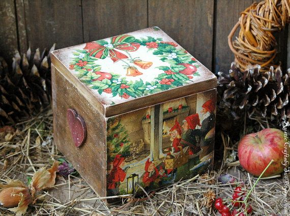 Christmas Decoupage Box,Christmas Gift by RusticCraftsbySue