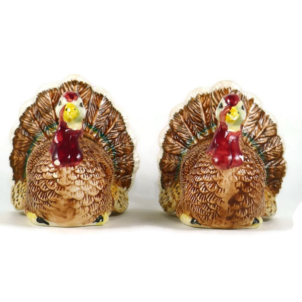 Pre Owned Decorative Collectible Porcelain Novelty Salt And Pepper Shaker  Set. Shakers Are Shaped Like Thanksgiving Turkeys. #Ganz