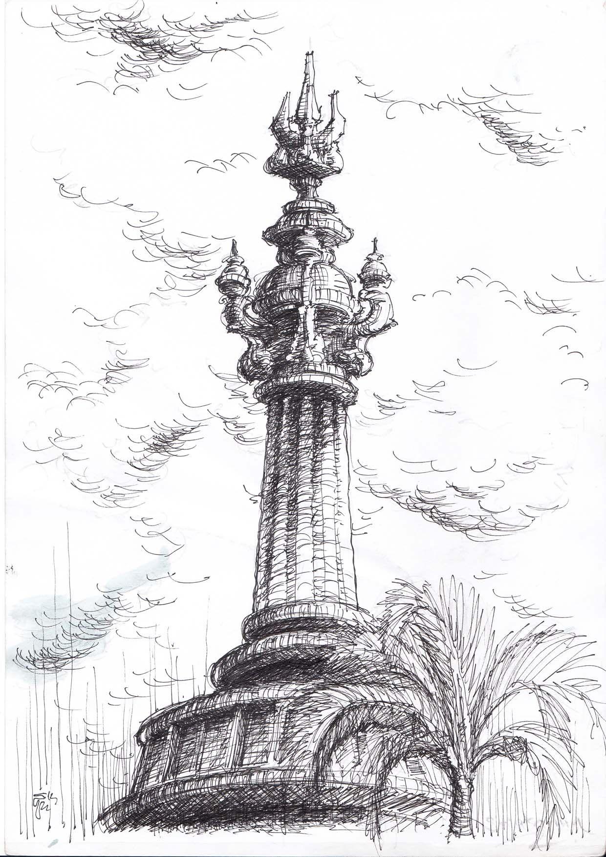 Sketch Pen On Paper Urban Sketcher Bali Architecture Monument