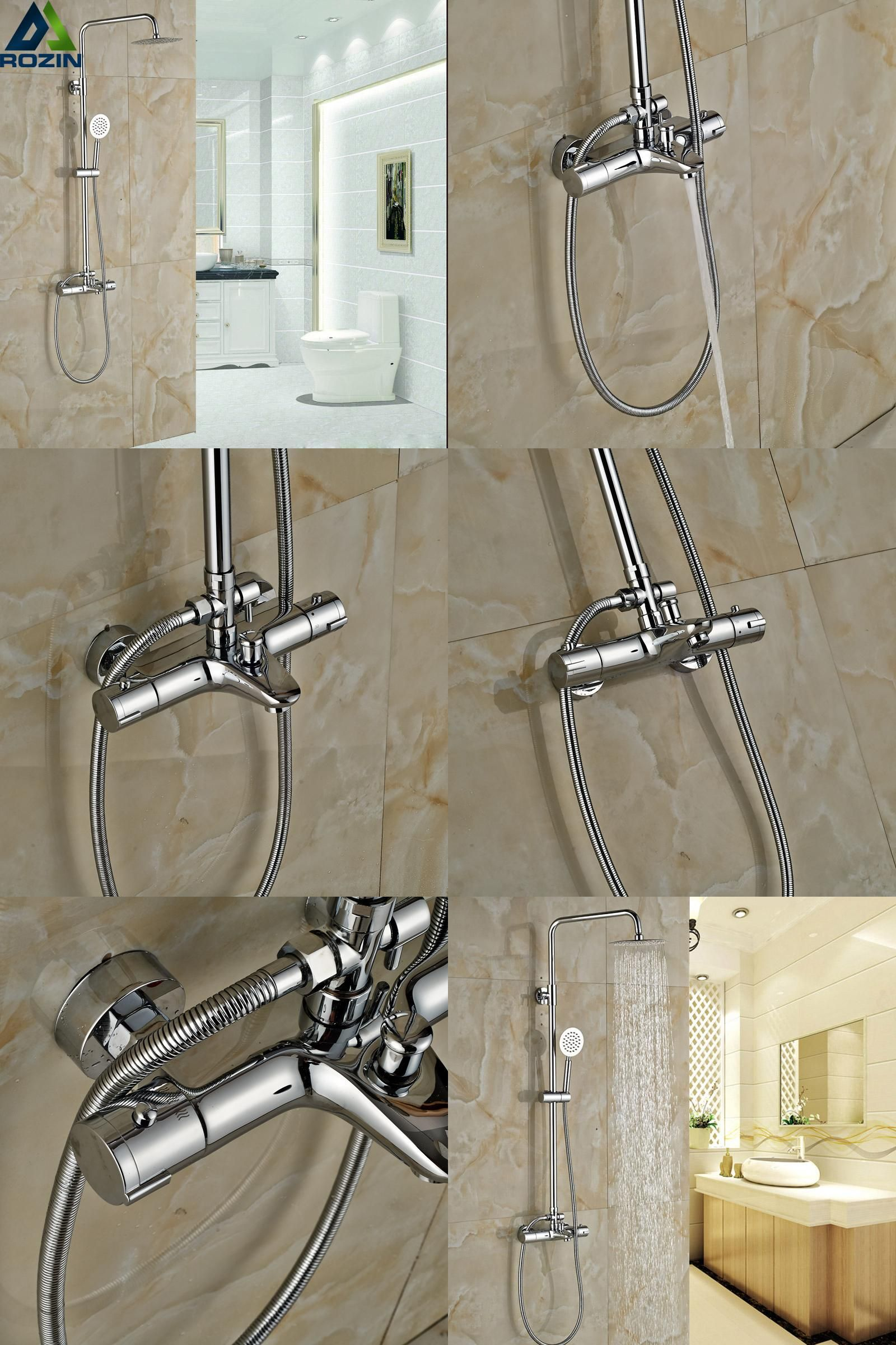 Visit to Buy] Luxury Bathroom Shower Thermostatic Mixer Tap Dual ...