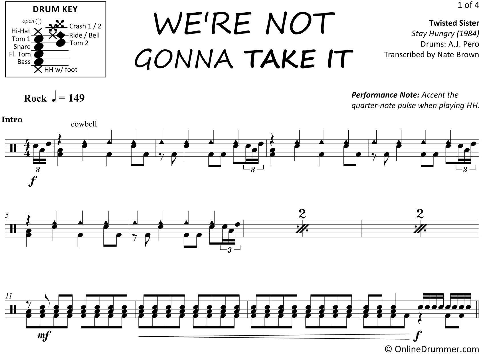 we're not gonna take it - twisted sister - drum sheet music |  onlinedrummer.com | drum sheet music, drums sheet, sheet music  pinterest