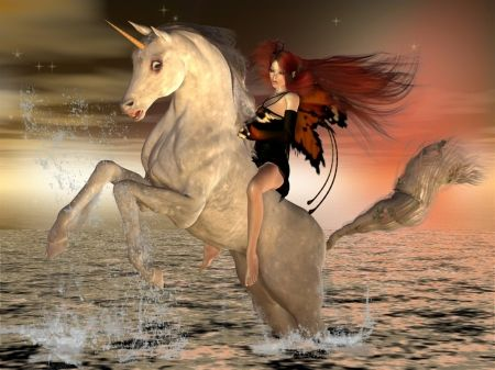 unicorn red head woman - unicorn, fantasy, woman, hair, red