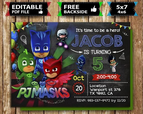 Pj Masks Invitation Invite Birthday Party Card Boy Mask