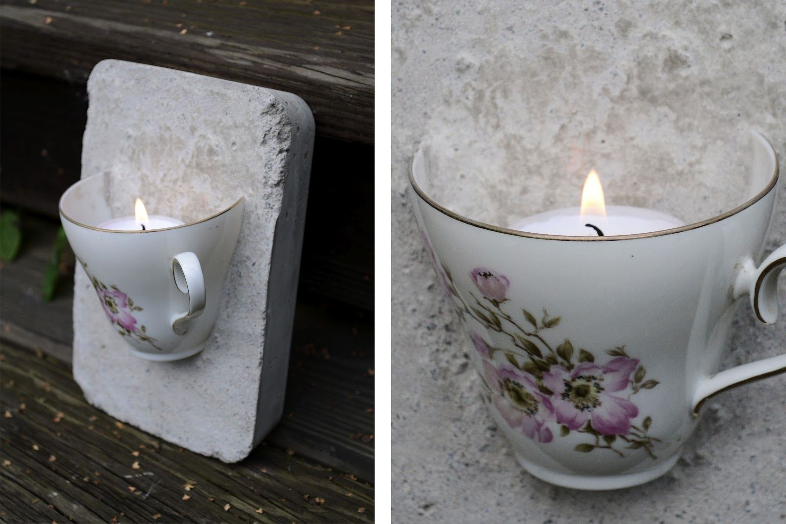 tea cup embedded in plaster cement and a candle put inside ljusstake av en kaffekopp beton. Black Bedroom Furniture Sets. Home Design Ideas