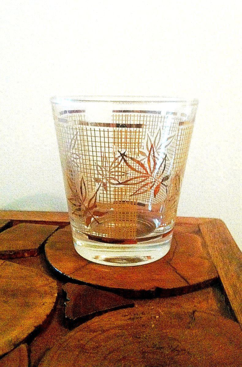 Vintage Golden Wheat Whiskey Glass Glass Midcentury