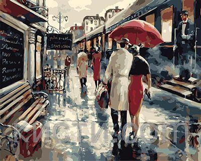 Картина раскраска по номерам Встреча у поезда | Картины ...