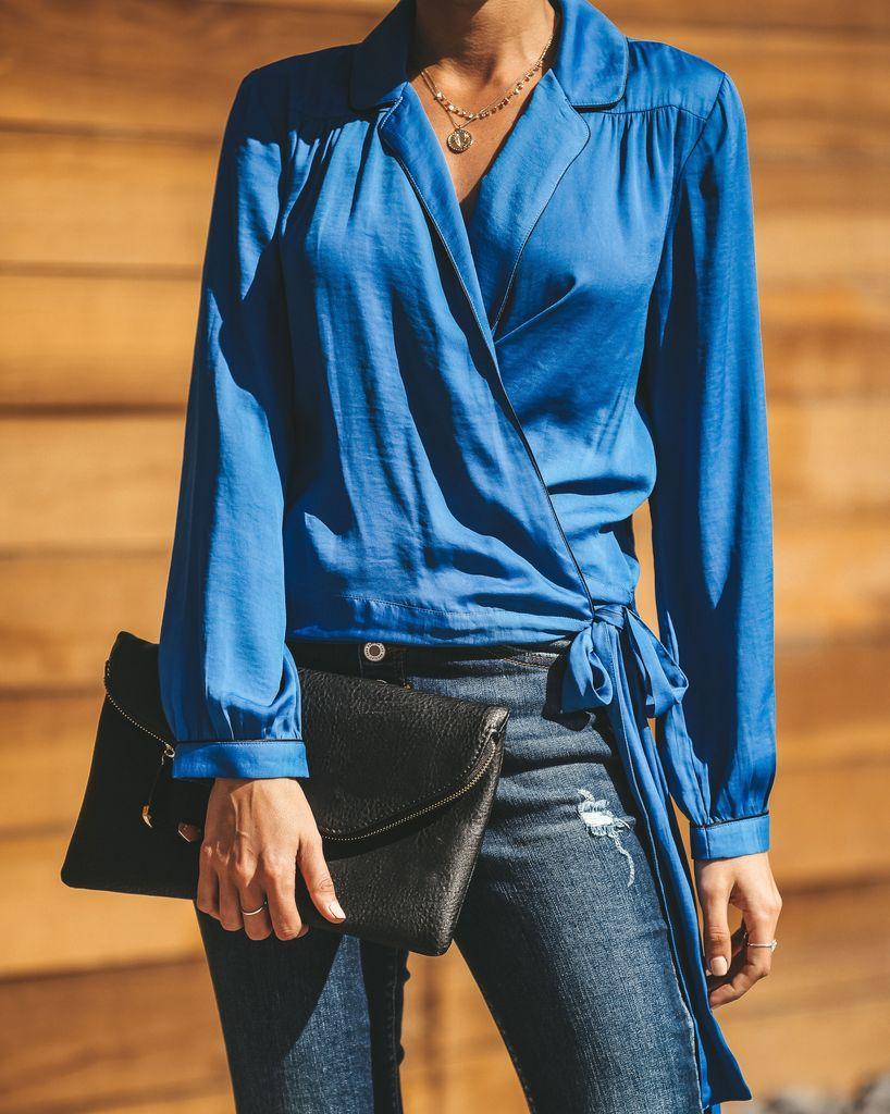 2dc16eab3dccf9 Night Wish Wrap Blouse - Blue - FINAL SALE in 2019 | SPRING SWING ...