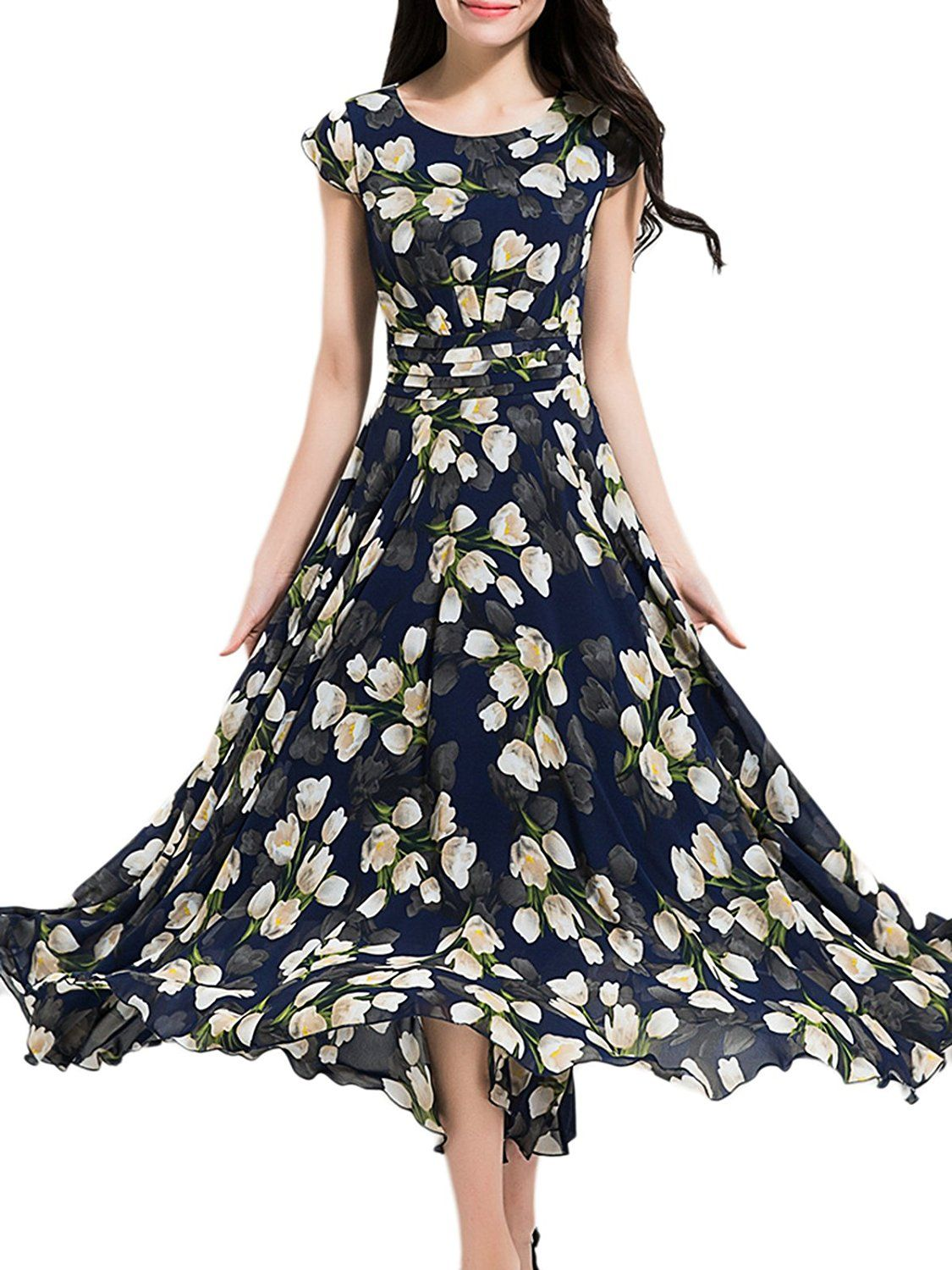17ffffabc3 MissLook Women's Vintage Floral Print Flowy Chiffon Long Maxi Dress at  Amazon Women's Clothing store: