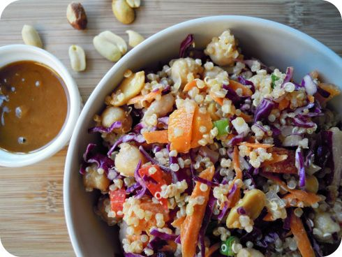 Thai Quinoa Salad with Ginger Peanut Dressing
