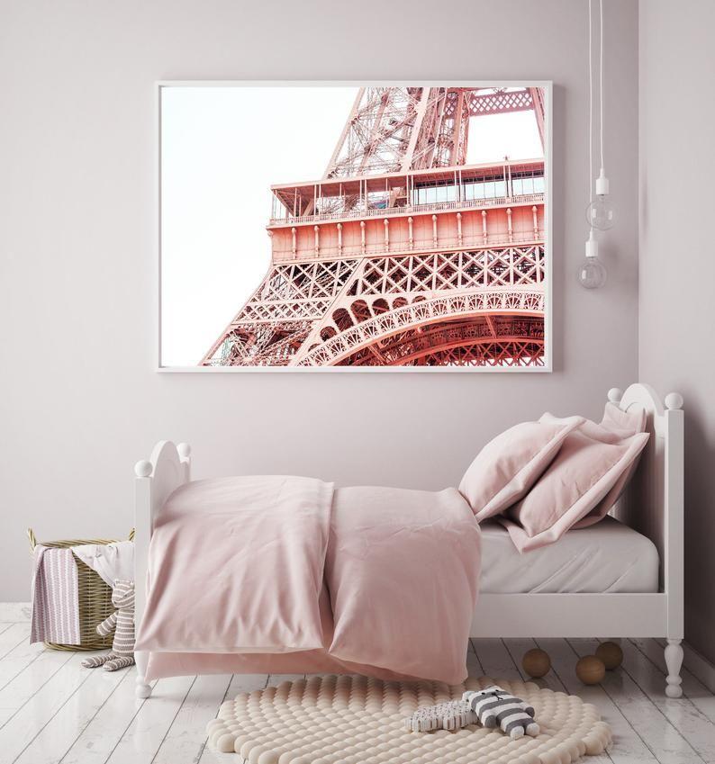 Eiffel tower print pink peachy poster paris tower wall