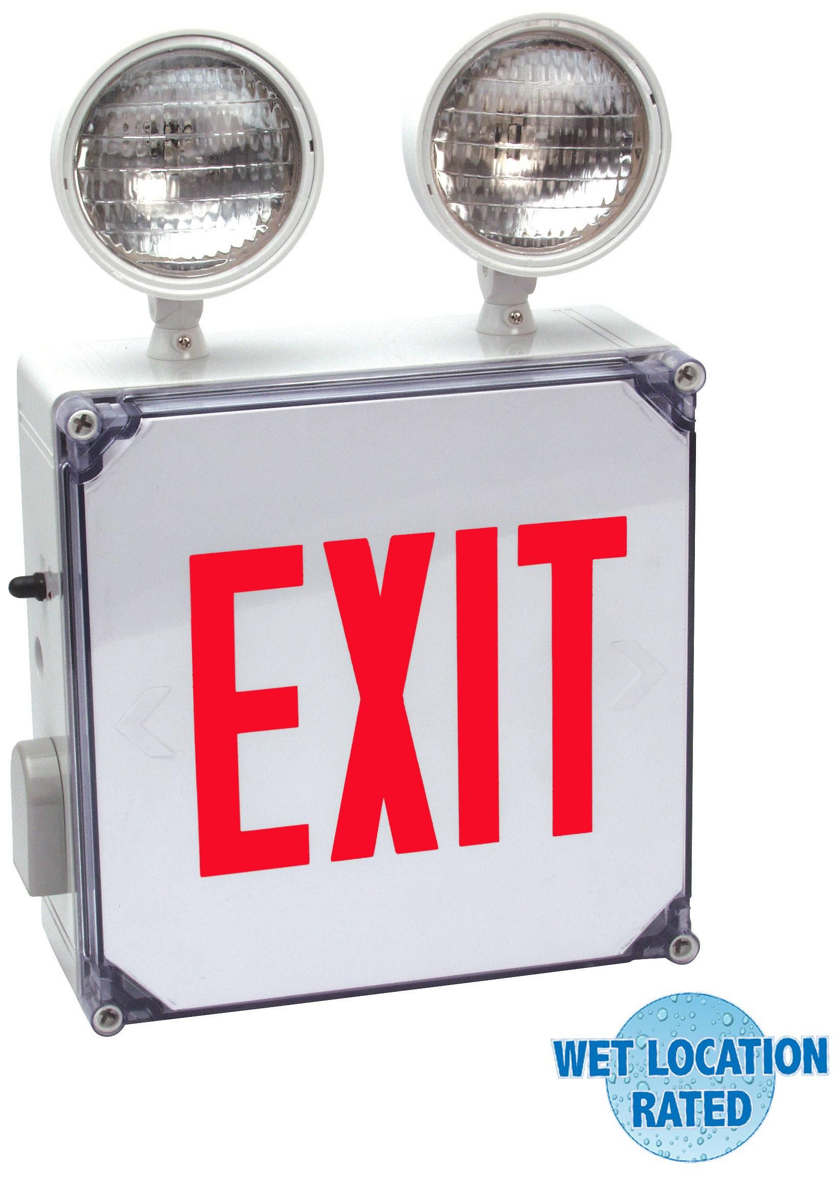 Wet Location Red Emergency Light Exit Sign Lampsplus Com