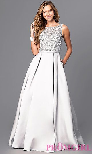 Bead Encrusted Bodice Long Prom Gown at PromGirl.com