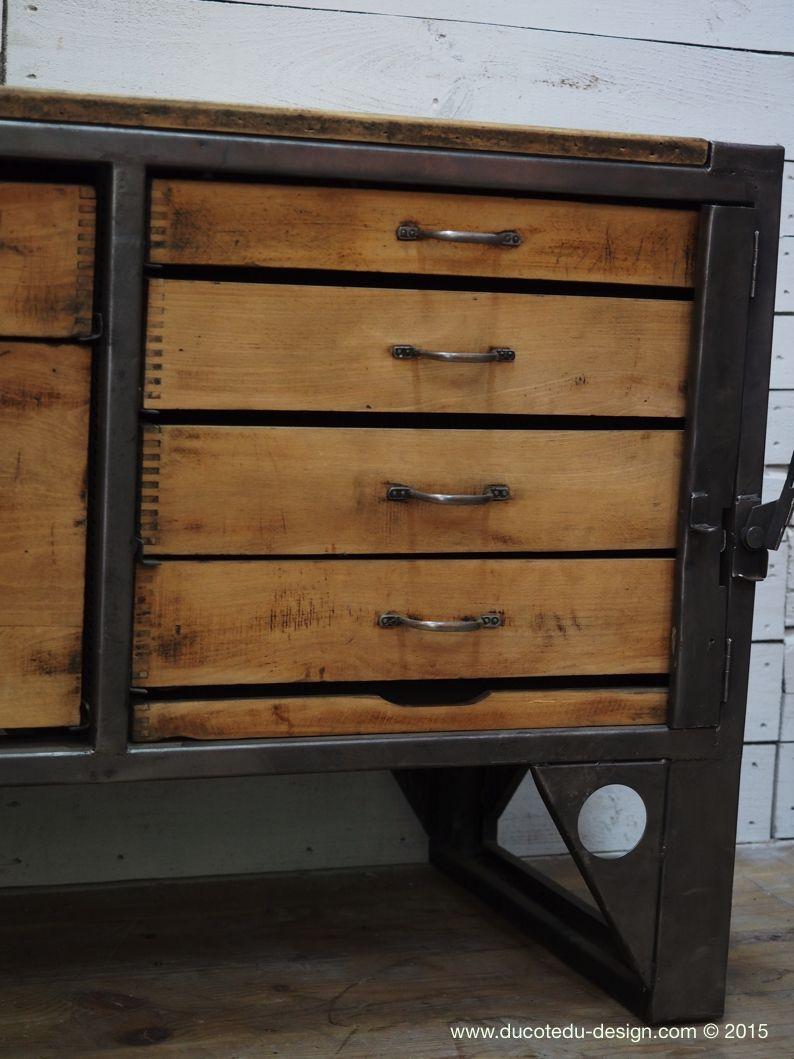 Bureau Metallique Industriel Vintage grand etabli industriel bureau metal et bois | ameublement