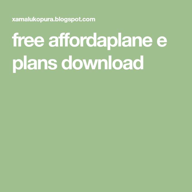 Free Affordaplane E Plans Download