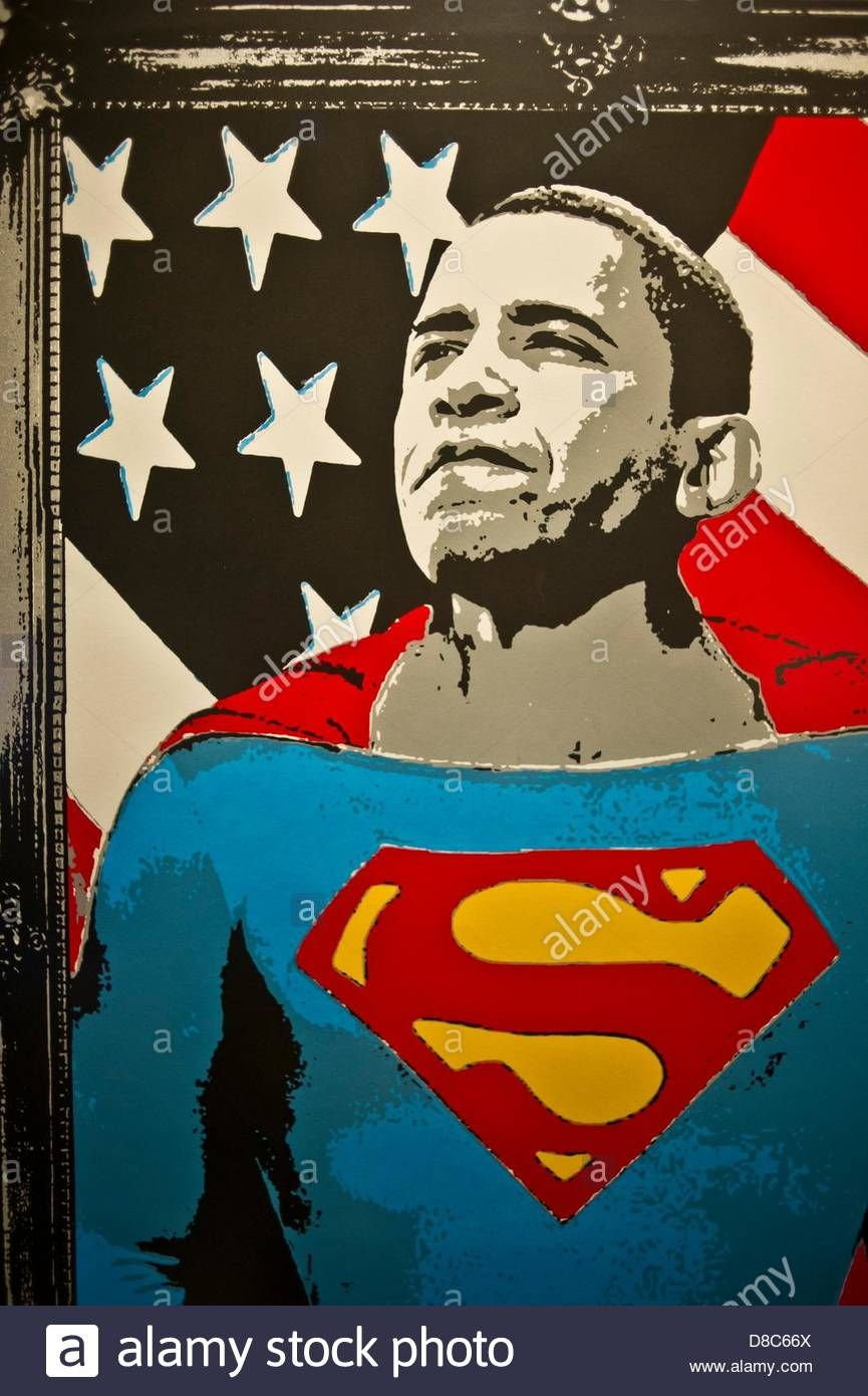 The Poster 'superman Obama' By The Artist 'mr. Brainwash' Is Pictured Stock  Photo, Royalty Free Image: 56816674 - Alamy