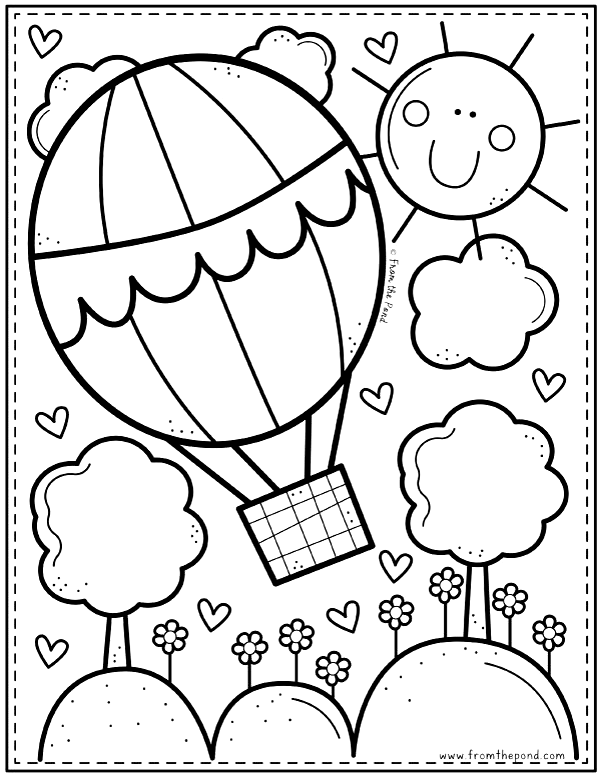 Hot Air Balloon Coloring Page From The Pond Coloring Club In 2020 Summer Coloring Pages Spring Coloring Pages Cute Coloring Pages