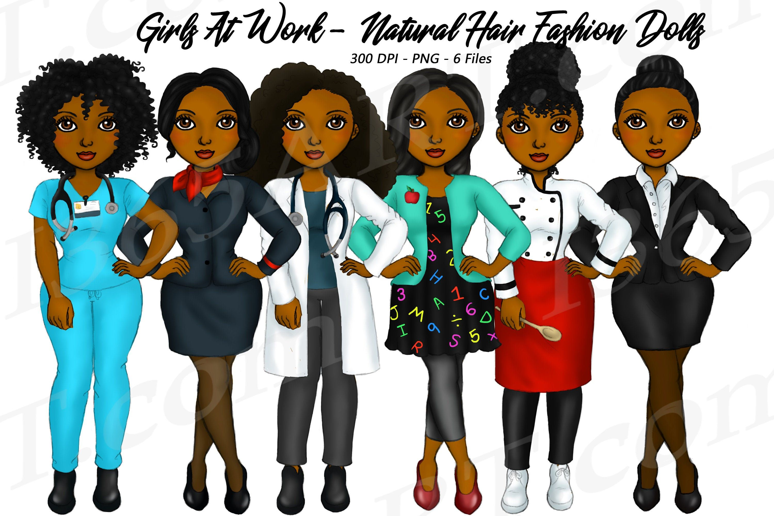 Girls At Work Fashion Girls, Girl Boss Clipart, Natural ...