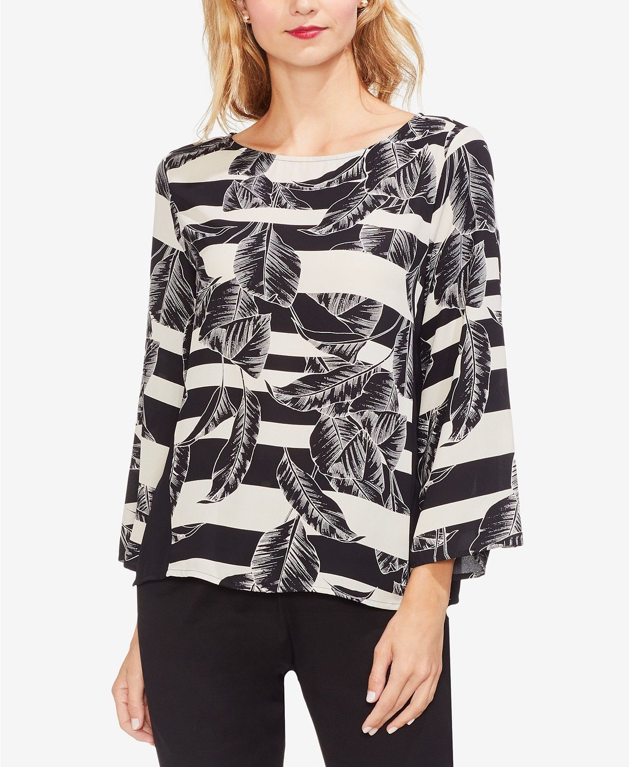 6b4f4229fb6e Printed Bell-Sleeve Blouse in 2019 | ***PRINTS*** | Bell sleeve ...